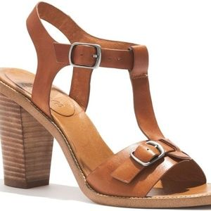 Brown leather Madewell block heels size 10